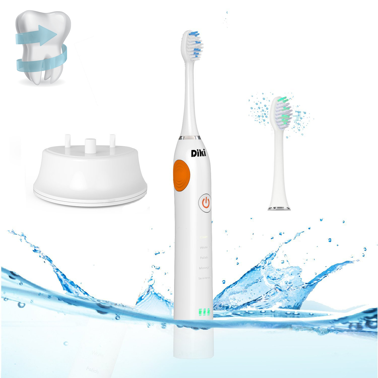Electric Toothbrush DIKI 2 Minutes Timer 5 Modes Rechargeable Adaptive Clean Brush Head Remove Plaque Clean Gums Travel IPX 7 Waterproof Toothbrush