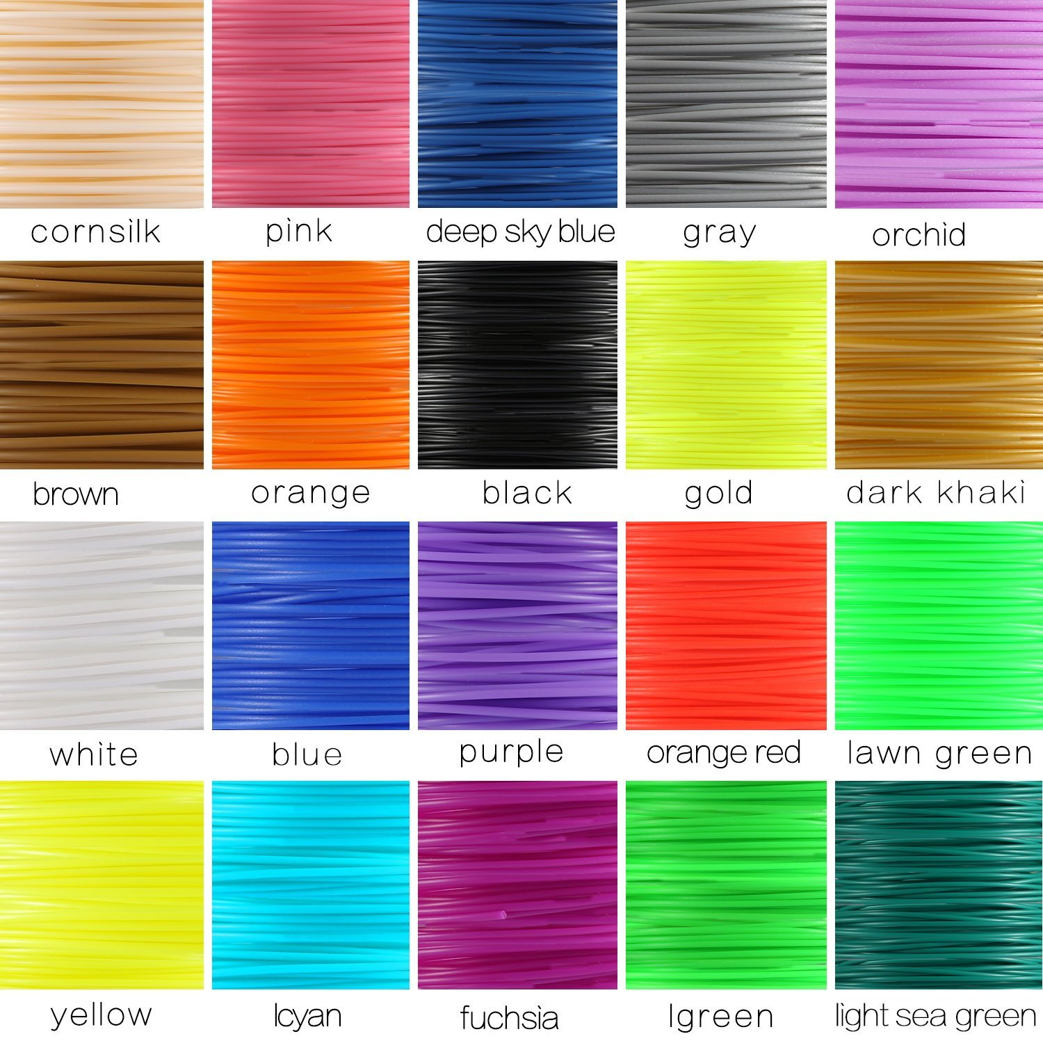 3D Pen Filament Refills, DIKI 1.75mm PLA Total 20 Different Colors 16 Colors 4 Luminous Colors 16ft Each for 3D Printing Drawing Pen and Printer, No odor and Fumes