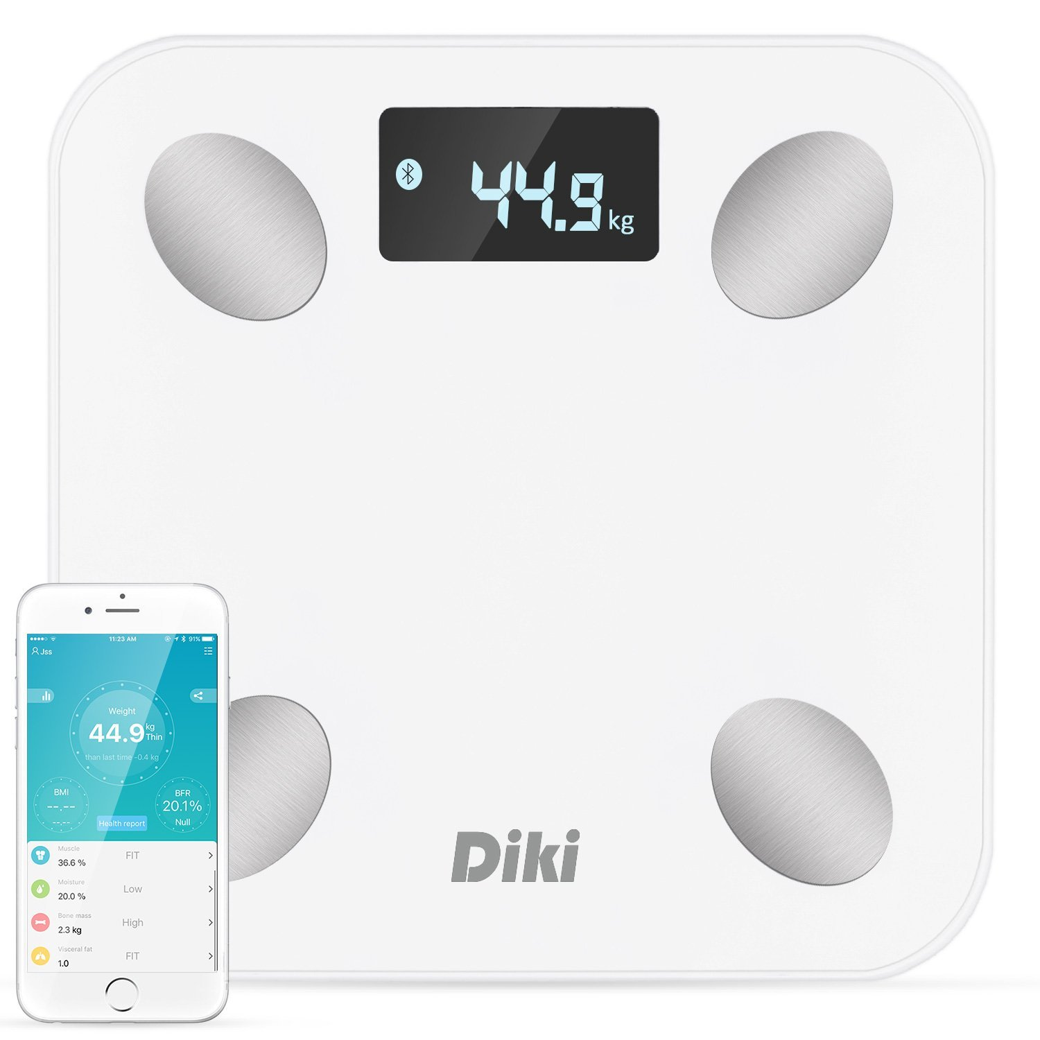 Bathroom Scales, DIKI Digital Body Fat Scale Bluetooth Smart Body Weight scales High Accuracy Ultra Slim Analyser Measuring 10 Body data LCD Display with Free App for iOS, Android Devices-White