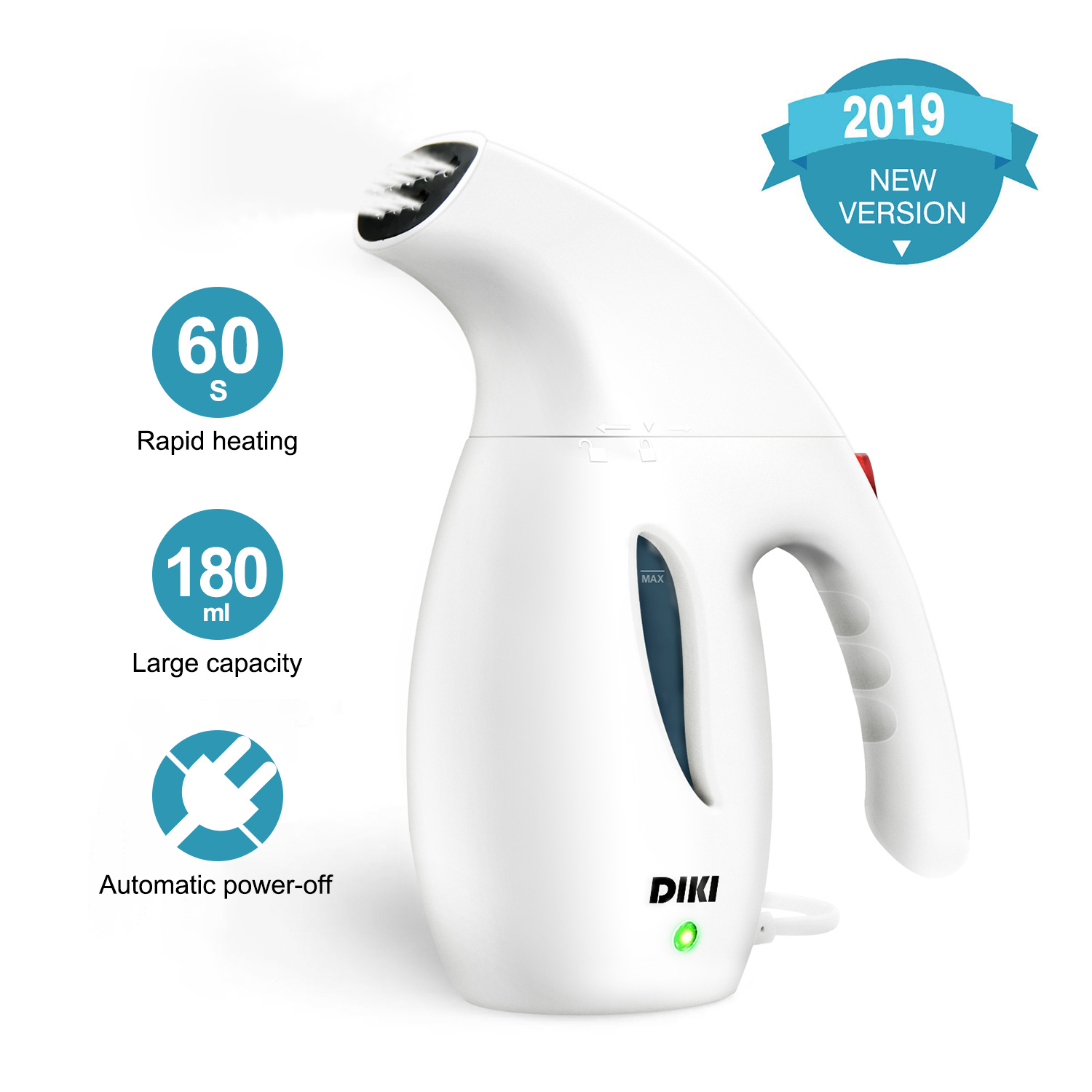 DIKI Clothes Steamer, Handheld Garment Steamer for Clothes, Auto-off, Portable Fabric Hand Steamer for Ironing Wrinkles Remover for Travel, Home and Office, White, Fast Heat-up