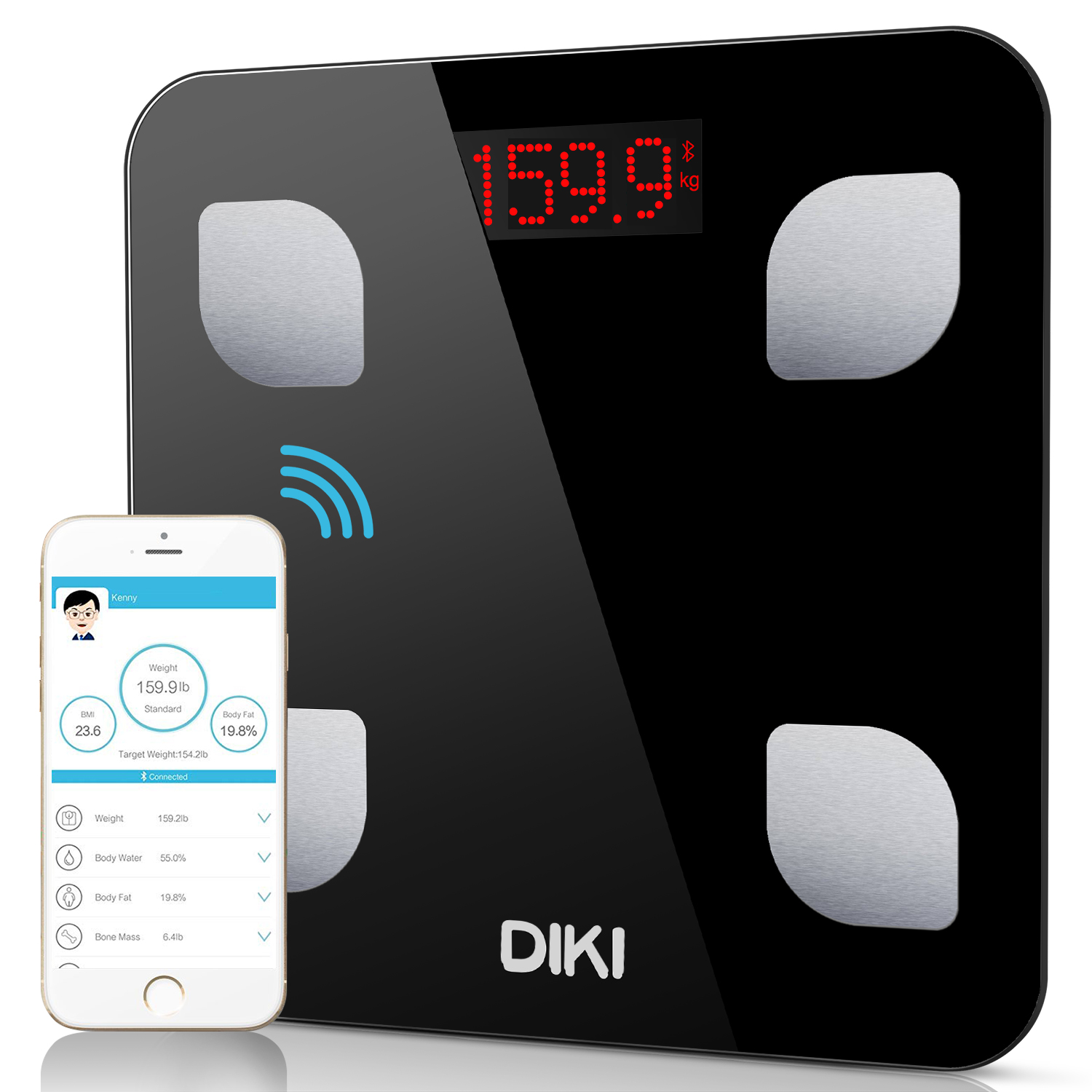 Body Fat Scales,DiKi Bluetooth Body Weight Scale with IOS and Android Devices,High Precision Digital Bathroom Scales,Digital Body Weight with Unlimited Users App/8 Body Components Data/Step On (Black)